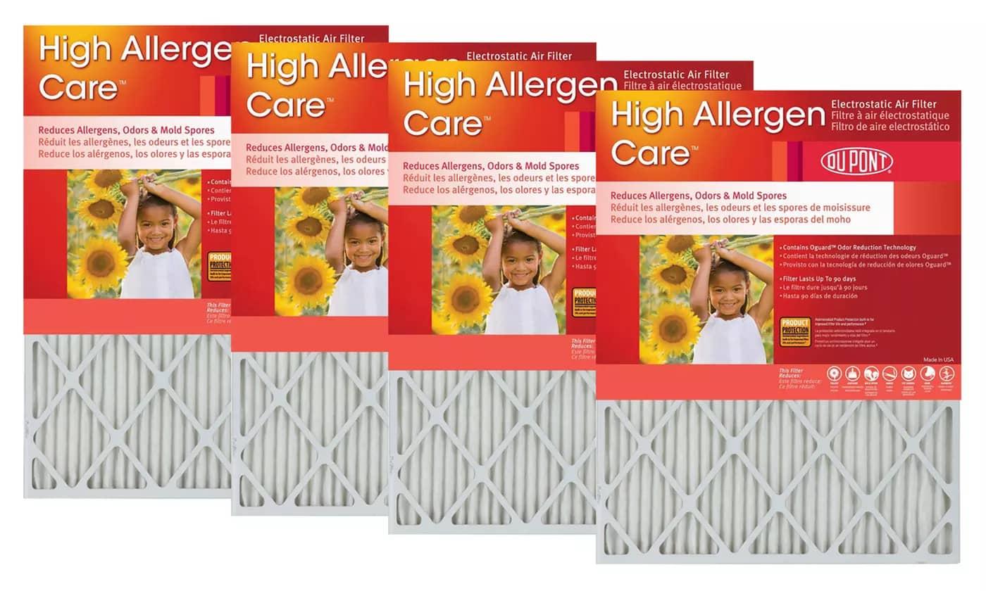 DuPont High Allergen Care Air Furnace Filter 4-Pack