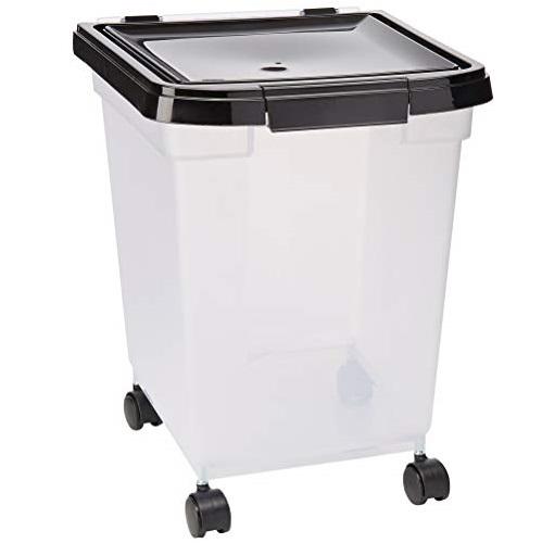 IRIS USA 带滚轮宠物粮密封储存盒,32.5 夸脱容量