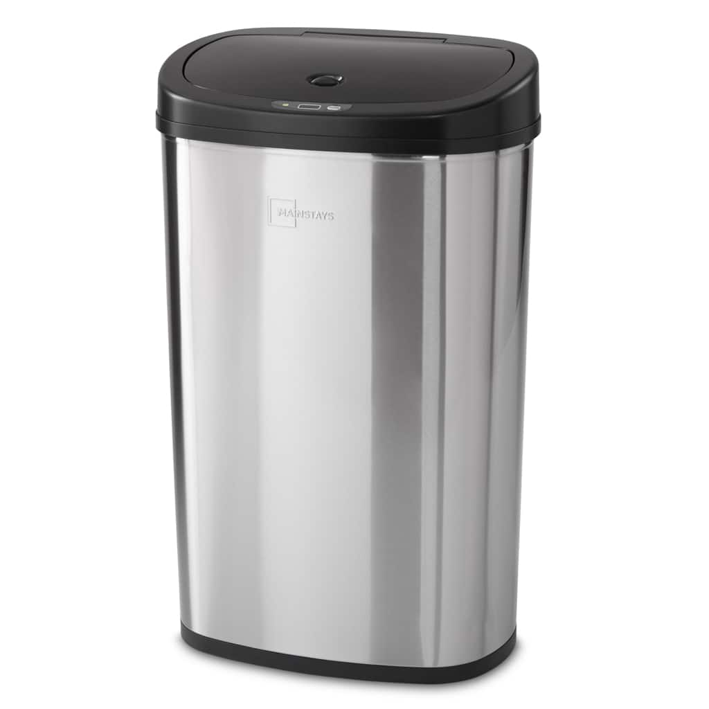13.2-Gallon Mainstays Motion Sensor Stainless Steel Trash Can (Black or Silver)