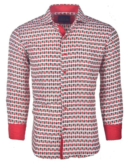 Men's Slim-Fit Christmas Button Down Shirt