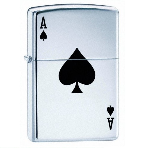 Zippo Lucky Ace High Polish Chrome Pocket Lighter
