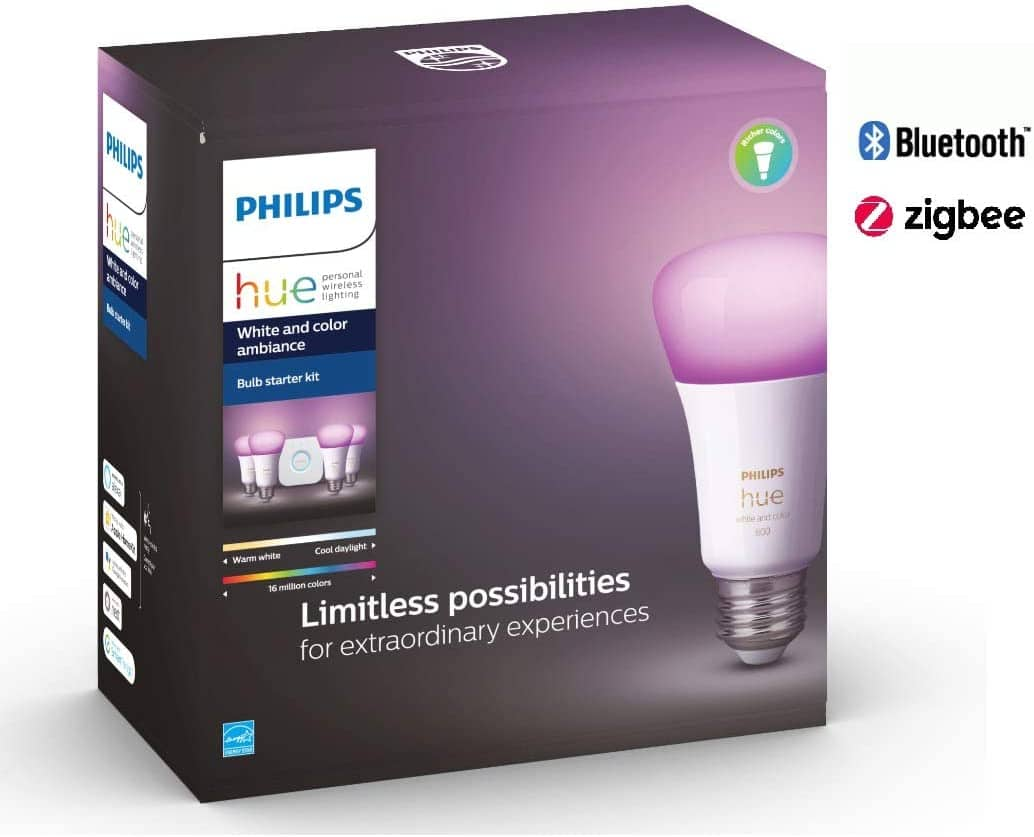 Philips Hue White & Color Ambiance A19 LED 4-Bulb Starter Kit (Refurb)