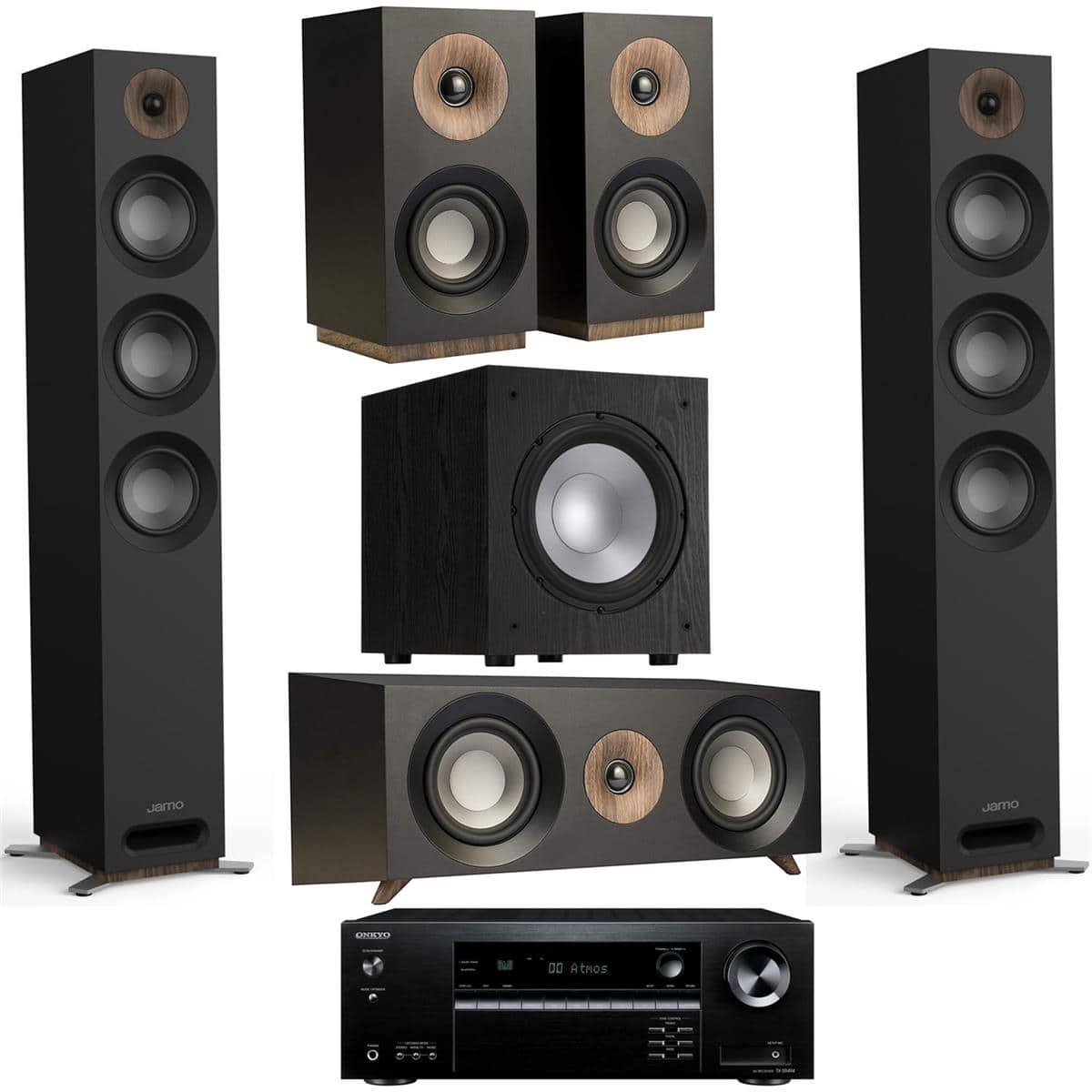 Jamo Speakers: Pair S 809 + S 83 Center + Pair S 801 + J 10 Sub + Onkyo TX-SR494