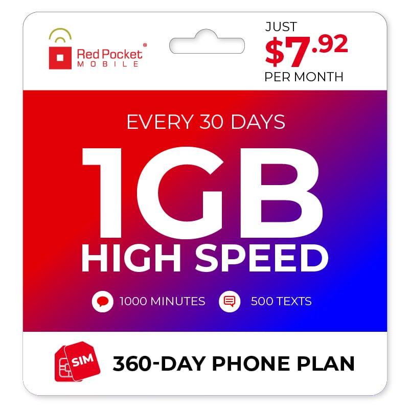 Red Pocket 1yr Unlimited + 1GB Monthly Data Prepaid Plan w/ SIM Card