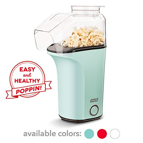 Dash DAPP150V2AQ04 Hot Air Popcorn Popper Maker with with Measuring Cup to Portion Popping Corn Kernels + Melt Butter, Makes 16C, Aqua