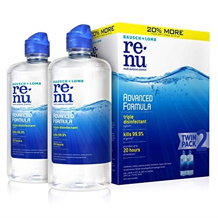 ReNu Bausch + Lomb renu Lens Solution Advanced Triple Disinfect Formula Multi-Purpose, 12 Ounce Bottle Twinpack