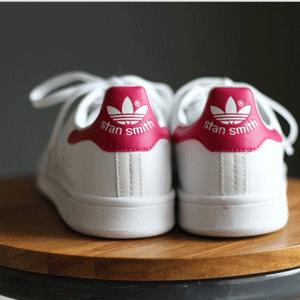 重回好价!Adidas Stan Smith大童款粉尾休闲鞋