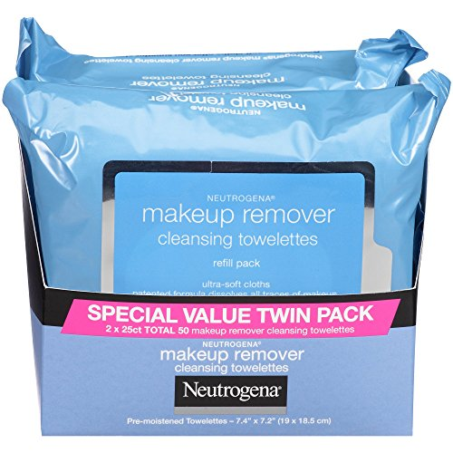 Neutrogena Makeup Remover Cleansing Face Wipes, Daily Cleansing Facial Towelettes to Remove Waterproof Makeup and Mascara, Alcohol-Free, Value Twin Pack, 25 Count, 2 Pack