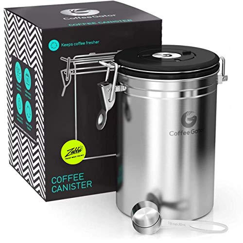 Coffee Gator Stainless Steel Coffee Grounds and Beans Container Canister