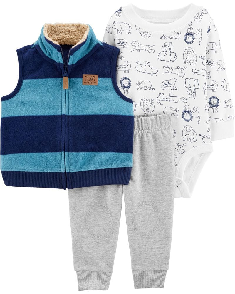 Carters: Up to 50% Off Clearance: Dinosaur Henley Bodysuit $3.50, 3-Piece Little Vest Set
