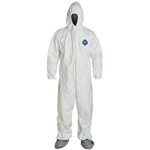 DuPont TY122S Disposable Elastic Wrist, Bootie & Hood White Tyvek Coverall Suit 1414