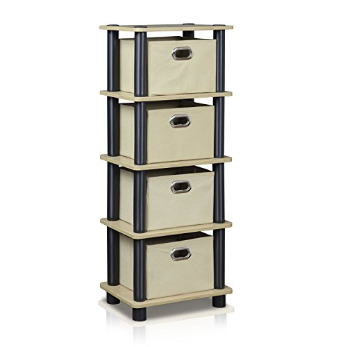 FURINNO LAci 4-Bins System Rack, Oak/Black/Light Brown