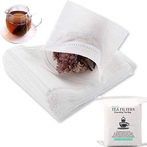 Fenshine 400 Pcs Disposable Tea Filter Bags Empty Cotton Drawstring Seal Filter Tea Bags for Loose Leaf Teal(3.54 x 2.75 inch)