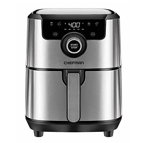 Chefman Square Air Fryer with Presets & Adjustable Temperature, Nonstick Stainless Steel & Cool-Touch, Dishwasher Safe Basket, BPA-Free w/ 60 Minute Timer,Analog-4.5 Quart