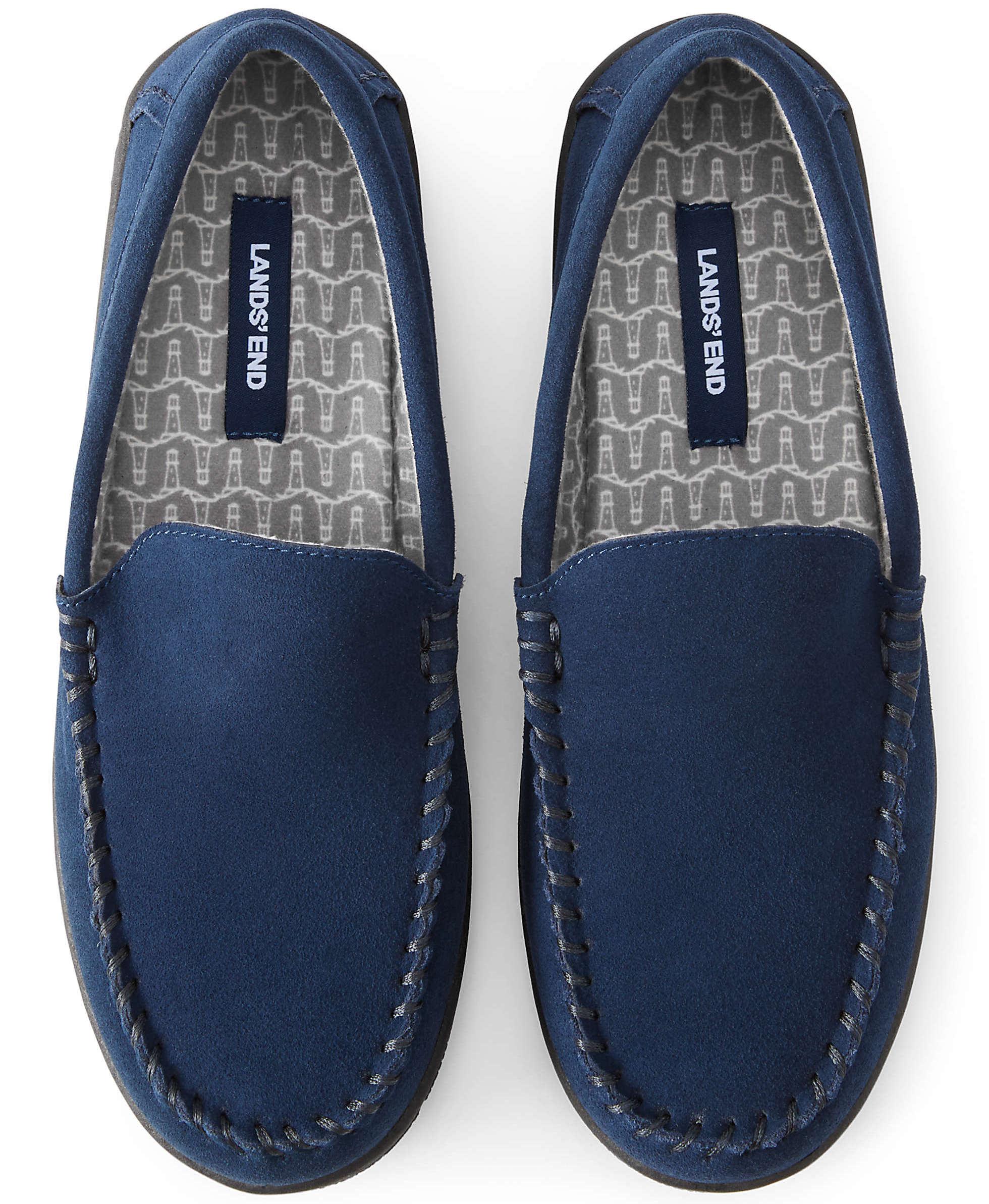 Lands' End Men's Suede Flannel Lined Moccasin Slippers
