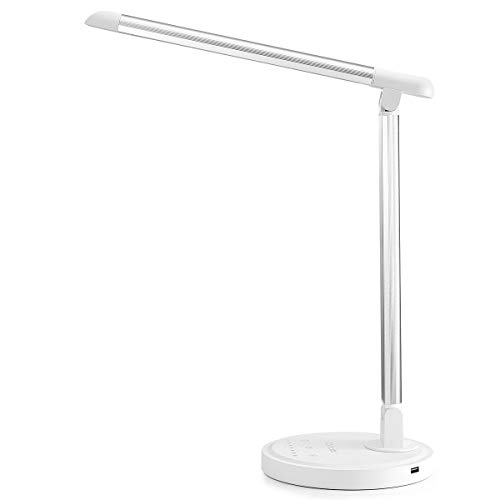 Consciot 12W LED Desk Lamp, Dimmable and Adjustable Office Table Lights, Touch-Sensitive Control Panel, with 5 Lighting Modes 7 Brightness Levels, Timer and 5V/2.1A USB Charging Port