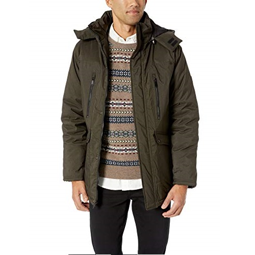 Ben Sherman Men's Parka Jacket, Logo Patch Olive Heather, L