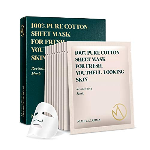 Madeca Derma 10 Pack Revitalizing Mask - Face Mask Sheet Korean Skincare - Hydrating Facial Mask for All Skin Types - Instant Repairing & Moisturizing with Soothing Centella Asiatica