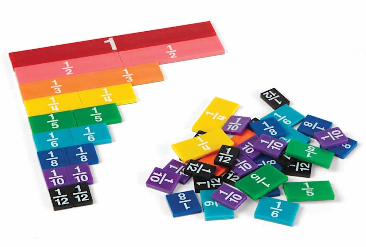 hand2mind Plastic Rainbow Fraction Tiles
