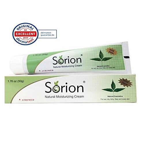 Sorion Natural Moisturizing Cream (50 Grams) - Herbal Cream with Coconut Oil, Neem and Turmeric for Red, Dry, Itchy, Flaky, Scaly Skin