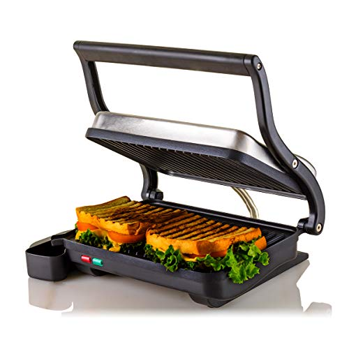 Ovente Electric Indoor Panini Press Grill with Non-Stick Double Flat Cooking Plate & Removable Drip Tray, Countertop Sandwich Maker Toaster Easy Storage & Clean  GP0620BR