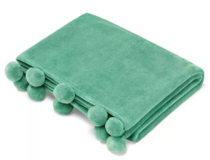 "70"" x 50"" Vera Wang Azalea Skye Salma Pom Pom Throw Blanket (Green or Turquoise)"