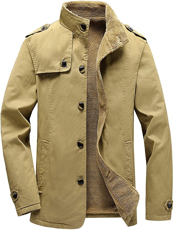 Vcansion Men's Fleece-Lined Cotton Jacket