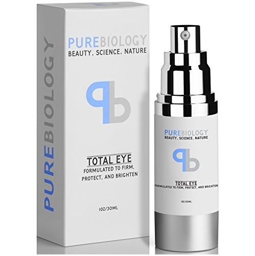 "Pure Biology ""Total Eye"" Cream with Hyaluronic Acid, Baobab Oil & Anti Aging Complexes to Reduce Dark Circles, Puffiness, Under Eye Bags, Wrinkles & Fine Lines for Men & Women"