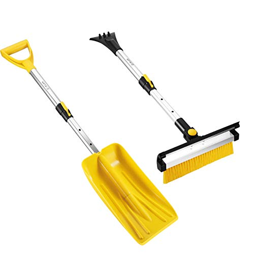 ISILER Extendable 3 in 1 Snow Removal Kit with Snow Shovel, Ice Scraper, Snow Brush and Squeegee for Cars Trucks