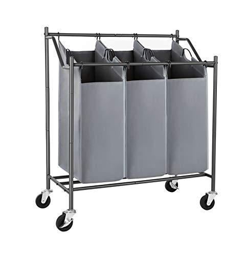 SONGMICS Laundry Clothes Sorters, 3-Bag, Gray