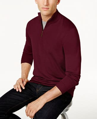 Club Room Men's Quarter-Zip Merino Wool Blend Sweater (Various Colors)