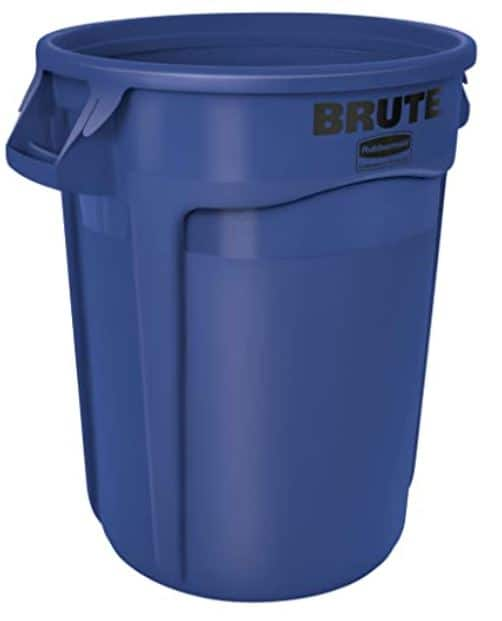 32-Gallon Rubbermaid Commercial Heavy-Duty Round Trash Can (Blue)