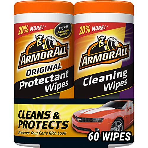 Armor All Car Interior Cleaner Protectant Wipes - Cleaning for Cars And Truck And Motorcycle, 30 Count (Pack of 2), 18779