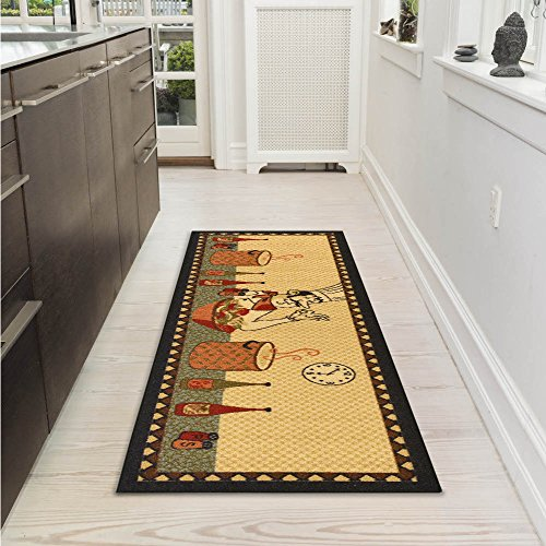 "Ottomanson Siesta Collection Kitchen Chef Design (Machine-Washable/Non-Slip) Runner Rug, 20"" x 59"", Beige"