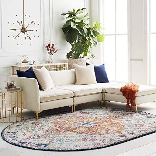 Artistic Weavers Odelia Area Rug, 6 feet 7 inch x 9 feet Oval, orange/navy