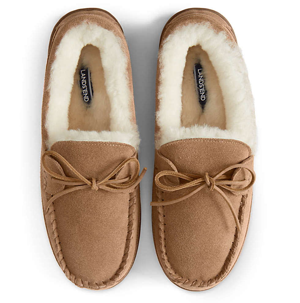 Lands' End Men's Shearling Suede Moccasin Slippers