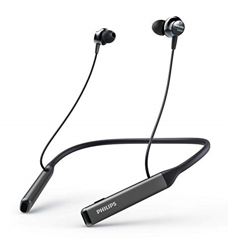 ​Philips Audio WirelPhilips Audio Wireless Neckband Headphones PN505 with Active Noise Canceling, Voice Assistance, Up to 14hours Play time, Hi-Res Audio (TAPN505BK), Black