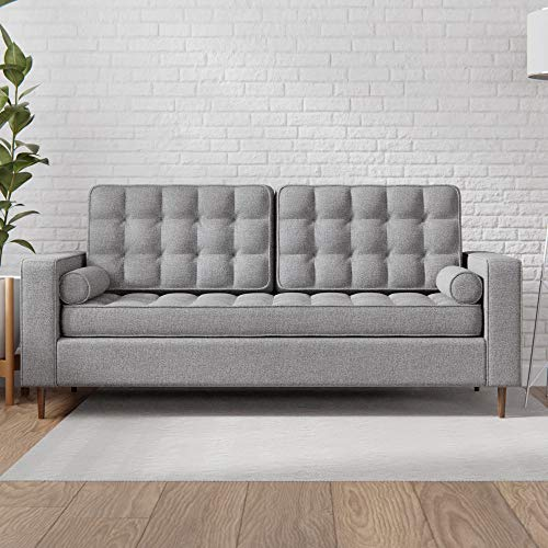 Everlane Home Lynnwood Upholstered Sofa with Square Arms and Tufting-Bolster Throw Pillows Included, Light Grey