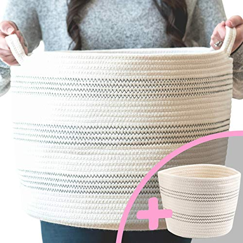 "Little Hippo 2pc Large Cotton Rope Basket, White (16""x15"") 100% Natural Cotton! Laundry Basket, Woven Storage Basket"