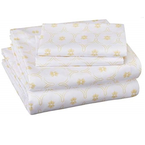 Amazon Basics Soft Microfiber Sheet Set with Elastic Pockets - Queen, Gold Blossom