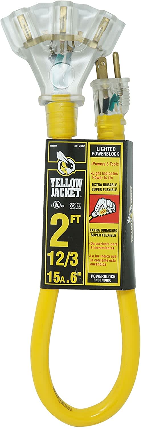 Yellow Jacket 3-Outlet Lighted 2-Foot Extension Cord