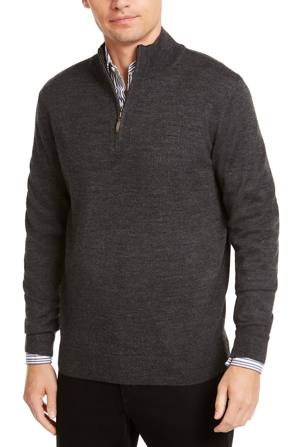 Club Room Men's Quarter Zip Merino Wool Blend Sweater