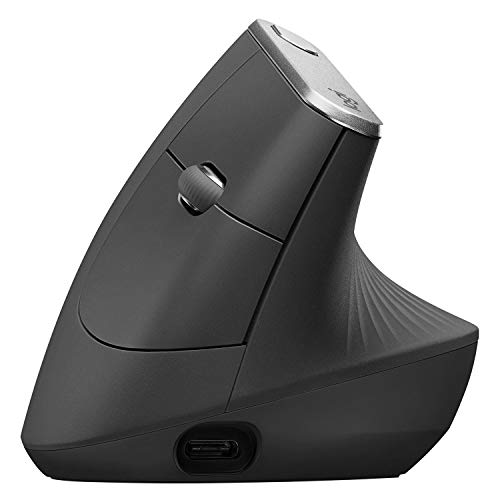 Logitech MX Vertical Wireless Mouse - Advanced Ergonomic Design Reduces Muscle Strain, control and Move Content Between 3 Windows and Apple Computers (Bluetooth or USB), Rechargeable