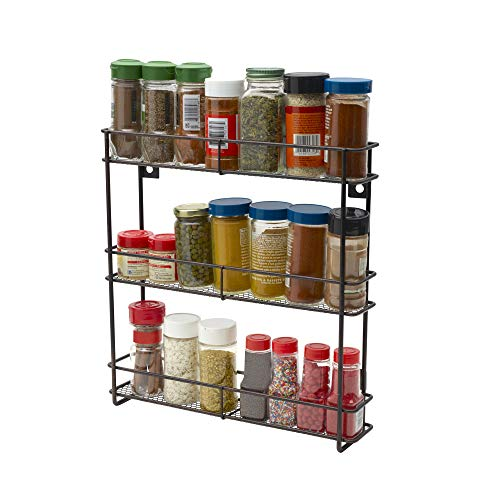 Gourmet Basics by Mikasa Hano Spice Rack with Keyholes, 13.25-Inch, Black