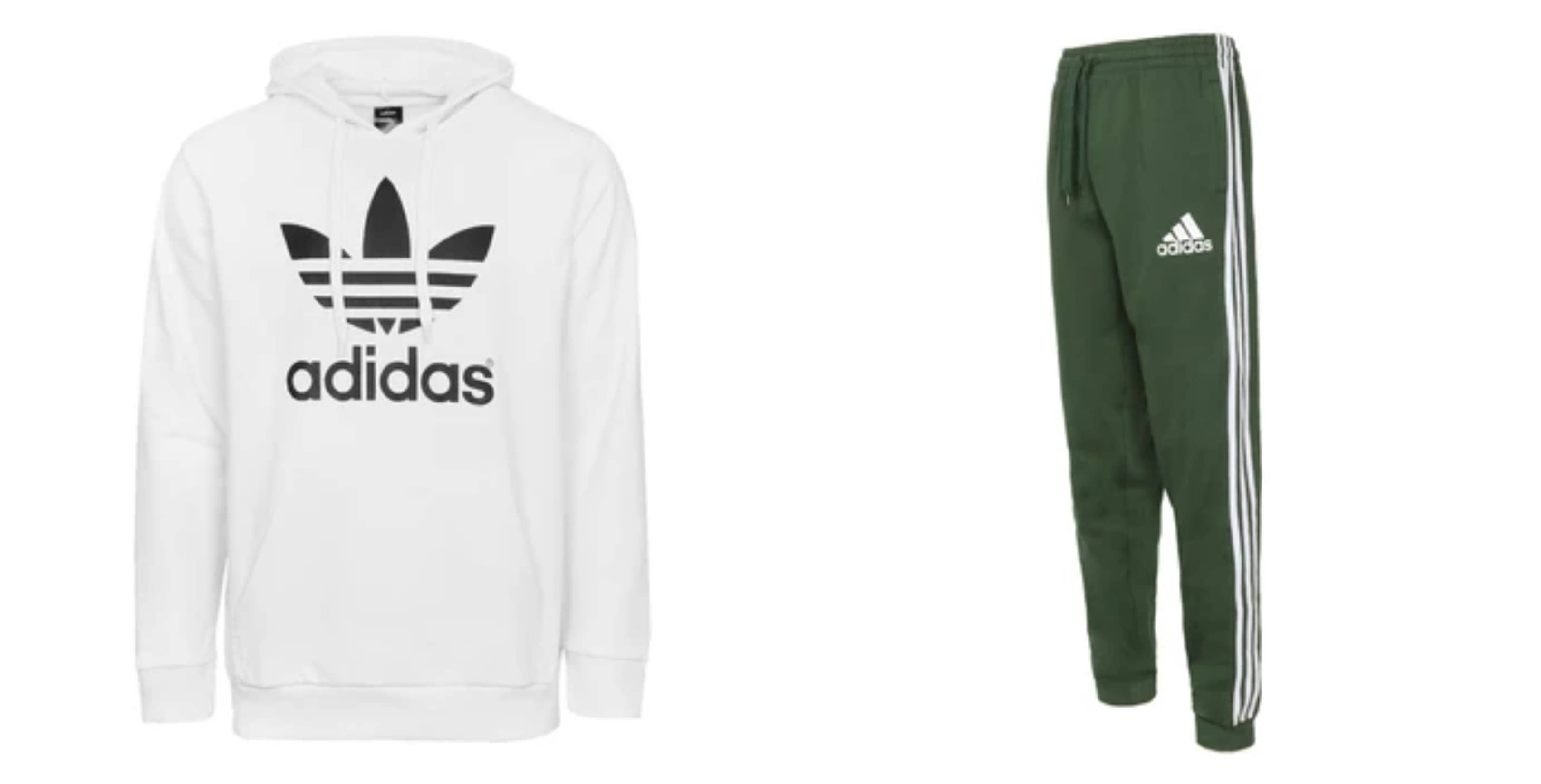 adidas Men's Trefoil Fleece Hoodie + Trefoil Fleece Joggers Set