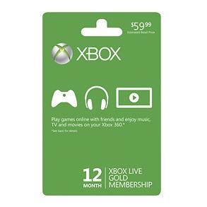 微软Xbox LIVE 12个月黄金会员卡