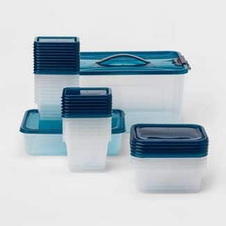 50-Piece Room Essentials Food Storage Container Set (Blue)