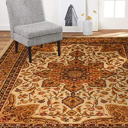 "Home Dynamix 8083-100 Royalty Ursa Traditional Area Rug 7'8""x10'4"", Oriental Ivory"