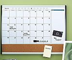 Staples 2'W x 1.5'H Magnetic Cork & Dry Erase Calendar Whiteboard