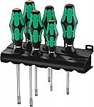 6-Piece Wera Kraftform Plus 334/6 Screwdriver Set with Rack and Lasertip